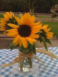 Centerpieces With Sunflowers by Reception Center Pieces Sunflowers In Mason Jars With Blue