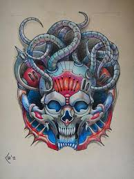 tattoo design biomechanical skull commission by xenija88 on