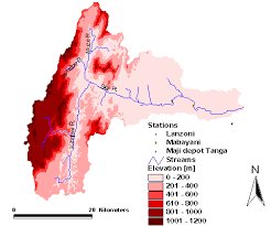 Technical Efficiency as a Sustainability Indicator in Continuum of     Figure    Sigi catchment  topography  river networks and stations