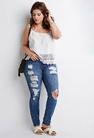 Forever 21 Ripped Jeans Plus Size Distressed Skinny Jeans Forever 21 Plus 2000082451