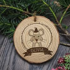 christmas tree personalised wooden mouse decoration u2013 luxe gift store