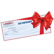 gift certificates the pond gift certificate gift certificates the pond