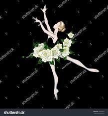 portrait ballerina fantasy dress white roses stock vector