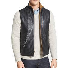 leather vest classic fit leather vest for men