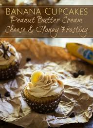 banana cupcakes with peanut butter cream cheese frosting the