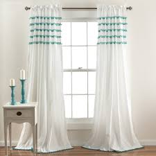 lush decor aria pom pom window curtain panel free shipping on