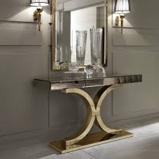 Gold Console Table Designer Italian Bronze Mirrored Glass Modern Gold Console