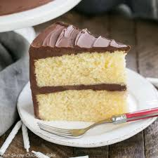 yellow butter cake with chocolate icing