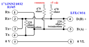 rs485 wiring diagram from a 172jnn21032 port 2 rj45 to an
