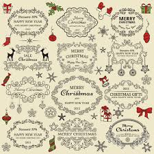 elements of christmas vintage frames and ornaments vector 01