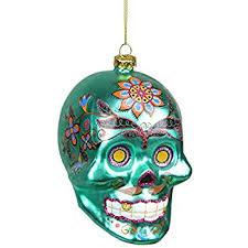 amazon com kurt adler noble gems sugar skulls glass ornaments set