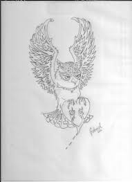 angry owl tattoo outline by dlgabriel on deviantart