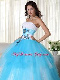 sweet fifteen dresses tulle gown strapless white and blue dress for sweet 15