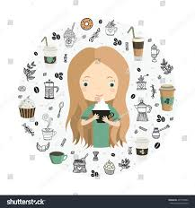 Cute Cup Designs Cute Cup Coffee Coffee Drinks Stock Vector 497763586