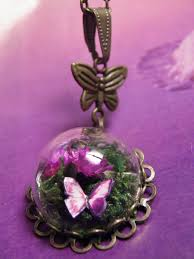 glass butterfly necklace images Glass dome mini terrarium with flowers moss and butterfly JPG