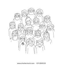 old people hand drawn crowd faces stock vector 645465946