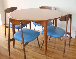 Mid Century Dining Room Furniture Furniture Chic Blue Brown Laminated Leather Mid Century Dining