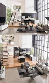 stylish open floor plan maximizing black white color scheme with