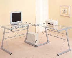 Small Glass Corner Desk Small Glass Corner Desk New Glass Top Metal L Shaped Puter Desk