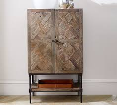 Reclaimed Wood Bar Cabinet Parquet Bar Cabinet Pottery Barn