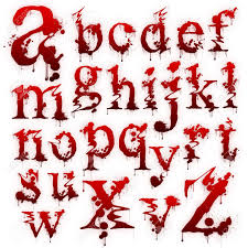 set of bloody letters isolated on a white background stock photo