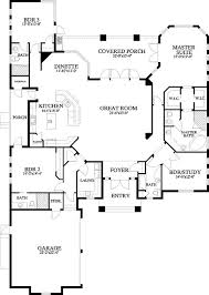Kitchen And Great Room Floor Plans Great One Level Floor Plan W24041bg Craftsman House Plans U0026 Home
