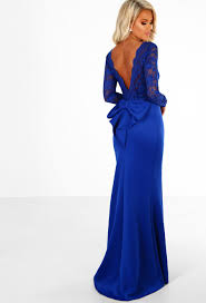 blue maxi dress addicted to royal blue lace sleeve bow back maxi dress