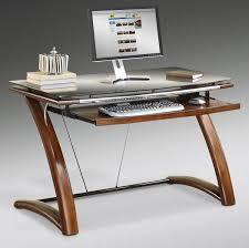 modern tempered glass corner computer desk with white finish