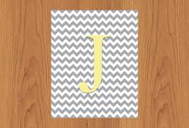 letter j wall art print grey yellow nursery decor chevron grey zoom