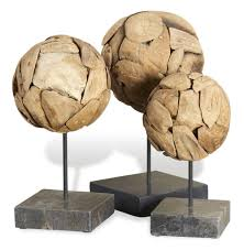 Home Sculptures by Sumatra Modern Teak Wood Sphere Sculptures On Stand Set Of 3