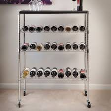 rolling chrome wine bottle rack cart with bar top holds 27 bottles