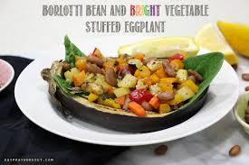 borlotti bean and vegetable stuffed eggplant