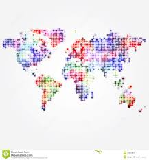 World Map Desktop Wallpaper by World Map With Colored Dots Of Different Sizes Stock Vector