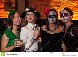 nyc halloween party new york ny october 31 guests in mascaraed costumes posing at