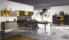 italian modern kitchen design with t shaped cabinetry along with