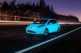 nissan leaf next generation glow in the dark nissan leaf visits glow in the dark highway