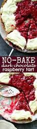 no bake dark chocolate raspberry tart