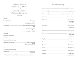 Programs For Wedding Ceremony Template For A Program Pacq Co
