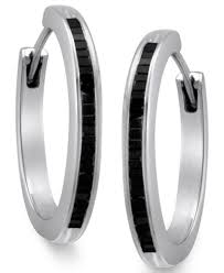 black diamond hoop earrings sterling silver earrings black diamond baguette hoop earrings 1