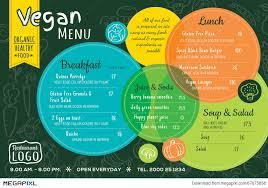 colorful organic food vegan restaurant menu board or place mat