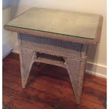wicker side table with glass top antique wicker side table with glass top chairish