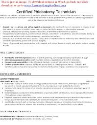 Certification On Resume Example by Free Phlebotomy Resume Examples Phlebotomy Resumes Free