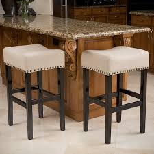 Counter Stool Backless Amazon Com Chantal Backless Black Leather Counter Stools W
