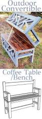 How To Make An Outside Bench Outdoor Convertible Bench Coffee Table Woodworking Plans