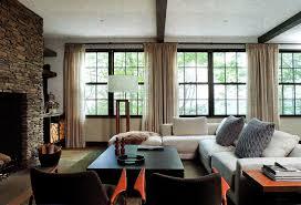 elegant cream curtains modern warm decor with white sofas on the