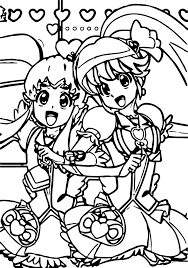 happy glitter force girls coloring page wecoloringpage