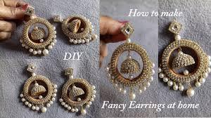 bridal jhumka earrings diy how to make designer fancy bridal earrings at home
