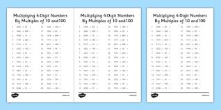 multiplying 4 digit numbers by multiples of 10 and 100 activity