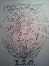 wonderful in memory angel tattoo drawing by ninjabob