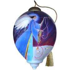 amazon com ne u0027qwa art angel glass ornament hand painted reverse